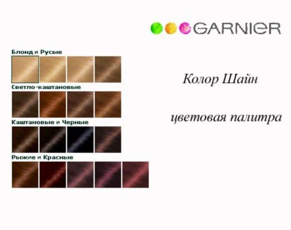Палитра краски для волос Гарньер Колор Шайн