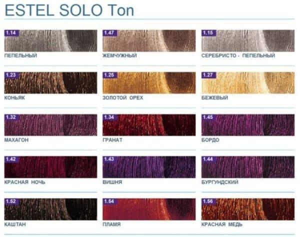 Палитра временной краски для волос Эстель