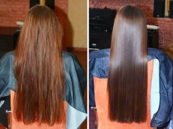 Кератинирование =после смывки краски с волос