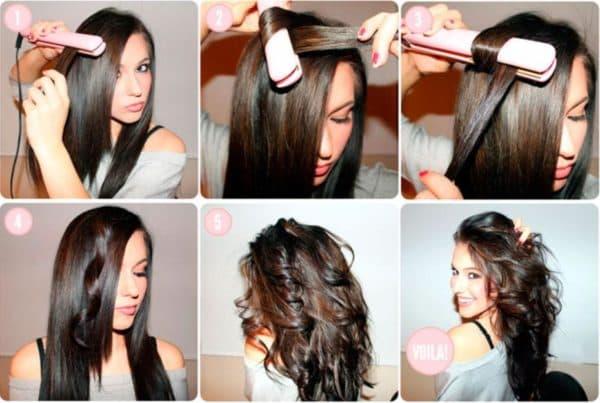 Этапы завивки волос с помощью утюжка