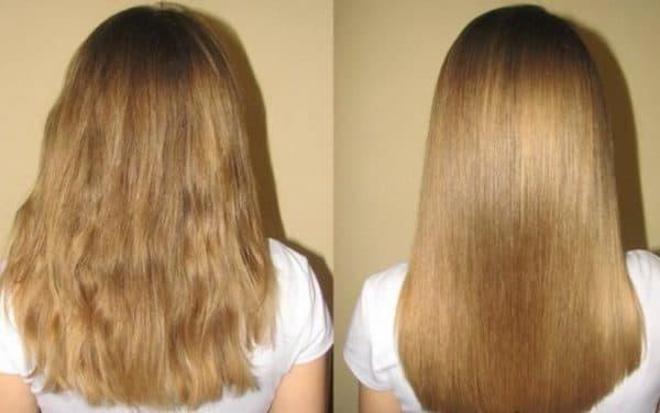 Результат процедуры домашнего ламинирования волос желатином