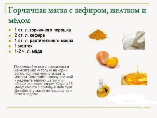 Горчичная маска для волос с кефиром и мёдом