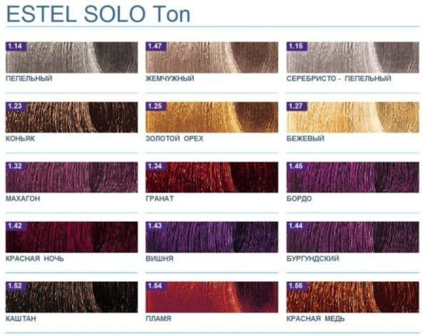 Палитра краски для волос Эстель Соло Тон