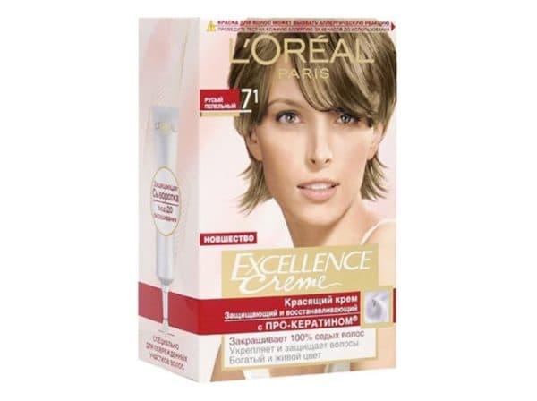Пепельно русый цвет волос Excellence creme 7.1
