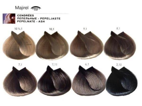 Холодные оттенки в палитре краски для волос Мажирель