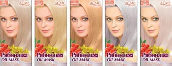 Тонирующие маски оттенка блонд Рябина
