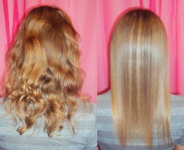 Результат домашнего ламинирования волос