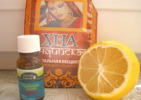 Маска для лица из бесцветной хны с лимоном и маслом чайного дерева