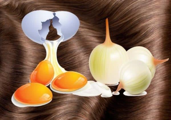 Маска для волос с яйцом и луком