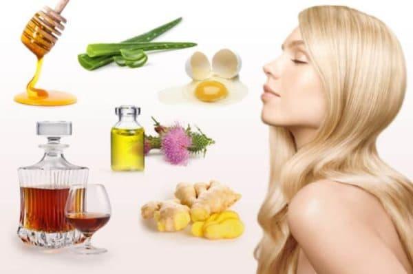 Ингредиенты для масок для волос с коньяком и мёдом