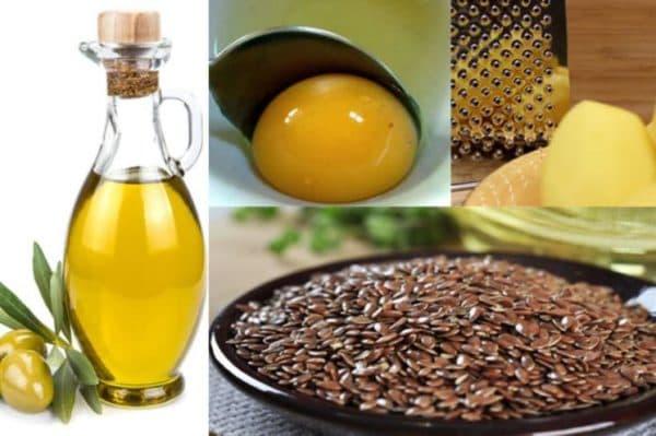 Льнянаная маска для лица с желтком, картофелем и оливковым маслом