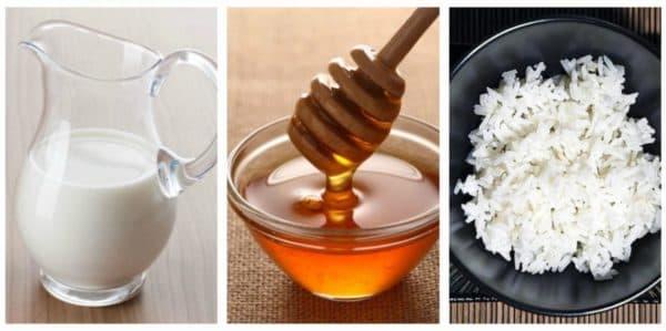 Маска для лица из риса с мёдом и молоком