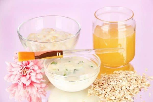 Маска для лица с овсянкой, йогуртом и соком