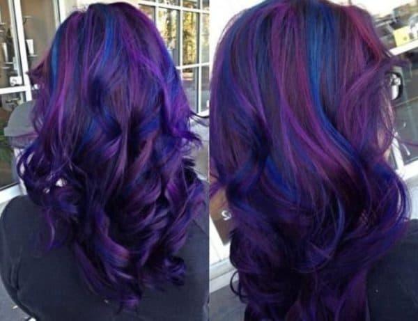 Мелирование на фиолетовых волосах