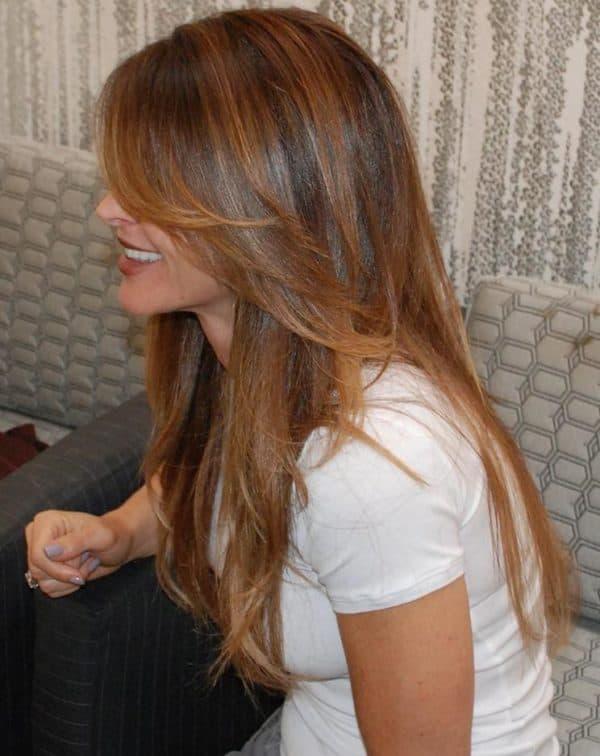Темное мелирование на рыжих волосах