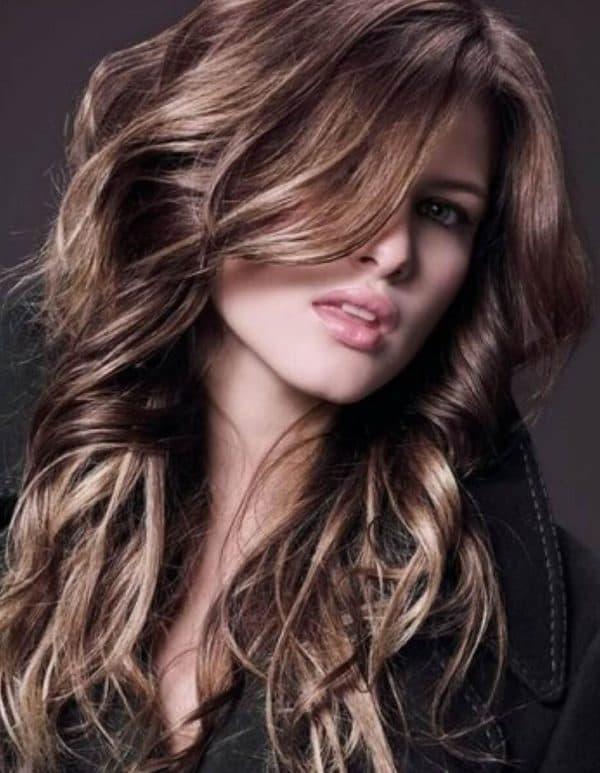 Окрашивание шатуш на темных длинных волосах