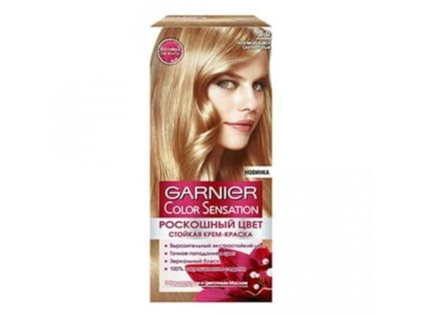 Светло русый оттенок 8.0 краски для волос Гарньер