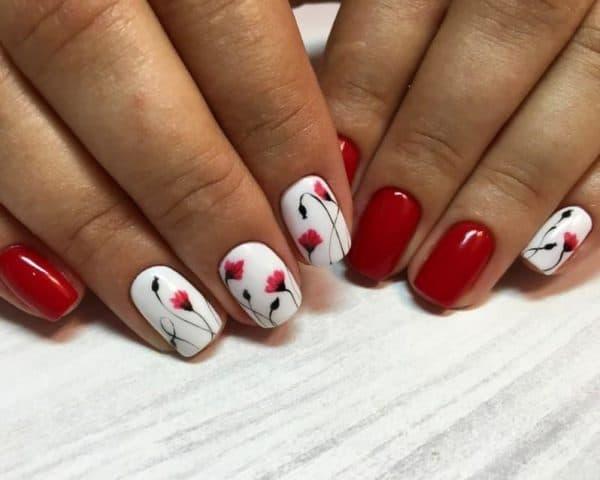 Рисунок гель лаком на ногтях в красных тонах