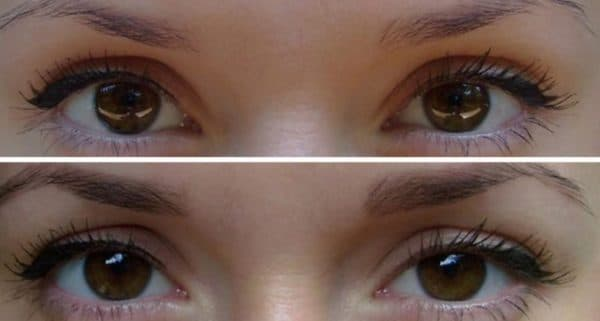 Брови до и после окрашивания краской Роколор