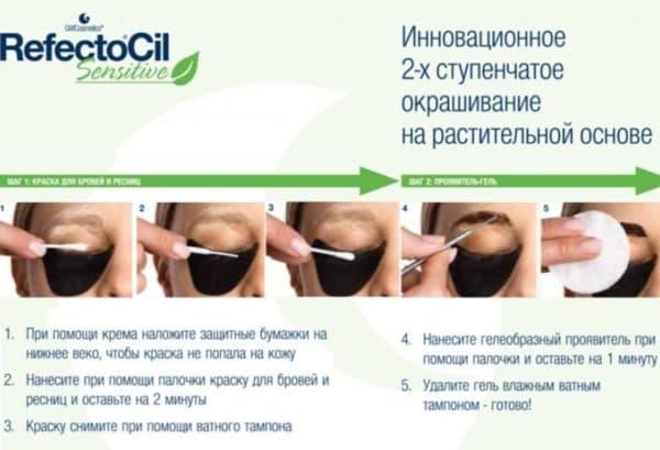 Инструкция по применению краски для бровей и ресниц Рефектоцил