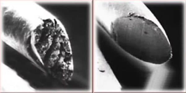 Срез волоса под микроскопом до и после стрижки горячими ножницами