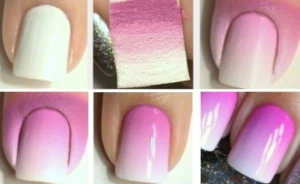 Техника омбре на ногтях с губкой (фото)