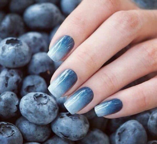 Омбре на ногтях гель лаком синяя гамма